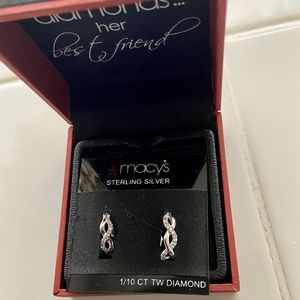 Macy's Sterling Silver Diamond Braided Hoops